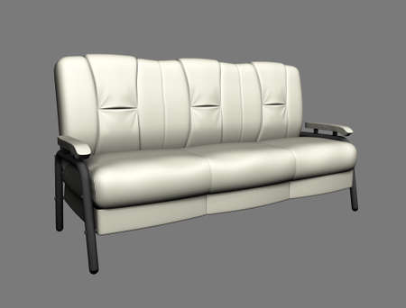 Modern white suede couch isolated on light background. Top view. Cutout object. 3d illustration