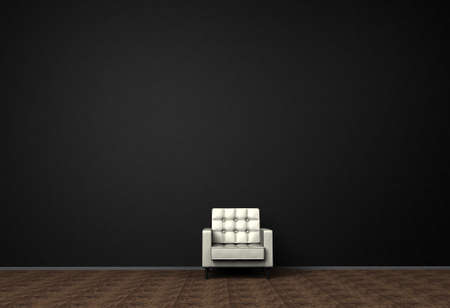 Loft interior mock up photo. Brown leather armchair. Minimalist style. Background photo with copy space for text. Black wall and wooden floor. 3D illustration.