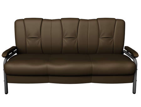 Modern brown suede couch isolated on white background. Front view. Cutout object. 3D illustration Stock Photo