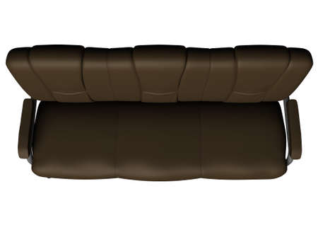 Modern brown suede couch isolated on white background. Top view. Cutout object. 3D illustration