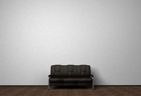 Loft interior mock up photo. Black leather sofa. Minimalist style. Background photo with copy space for text. White wall and wooden floor. 3D illustration.