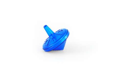 dreidel: Blue dreidel for Hanukkah on white background.