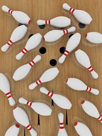 quille de bowling: Quilles sur le plancher de bois franc, en position couch�e.