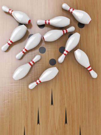 quille de bowling: Dix Bowling broches sur le plancher de bois franc, Couch�.