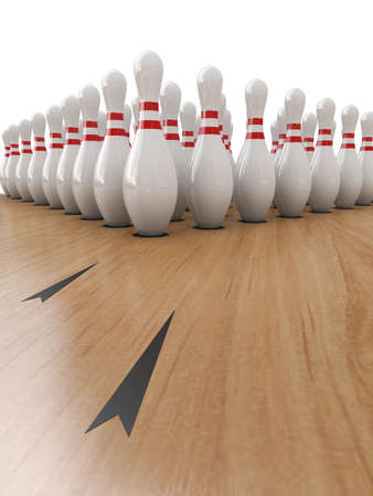 bowling alley: Bowling Pins on white