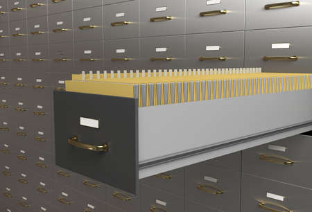 Filing cabinet with folders in drawer photo