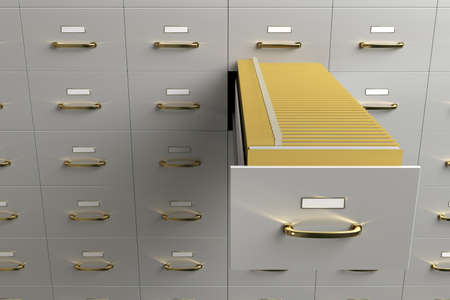 filing cabinet: Filing cabinet with folders in drawer