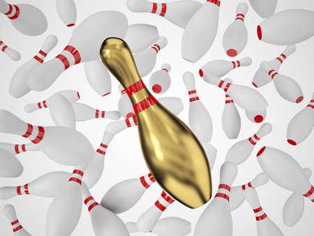 quille de bowling: Quilles tomber dans l'air Banque d'images
