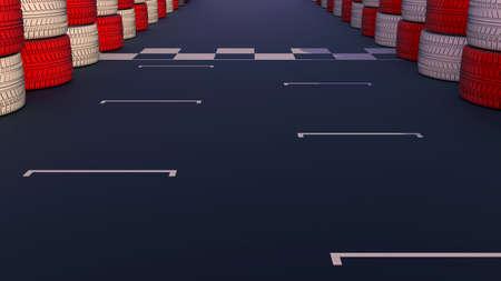 sports venue: Motor pista de carreras en una demostraci�n instalaci�n deportiva dividiendo l�nea de meta en la carretera de asfalto.