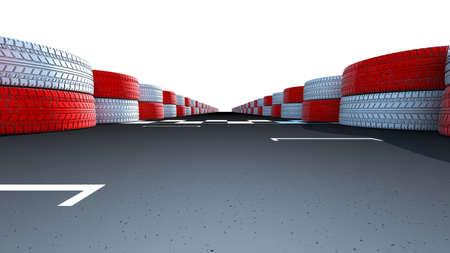 sports venue: Motor pista de carreras en una demostraci�n instalaci�n deportiva dividiendo l�nea de meta en la carretera de asfalto