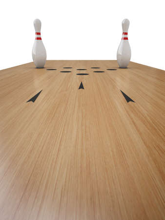 bowling alley: Bowling alley on white
