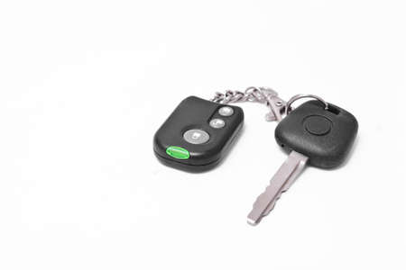 pager: Car key with pager alarm isolated on white background