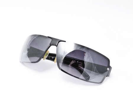one sunglasses isolated on white background close up