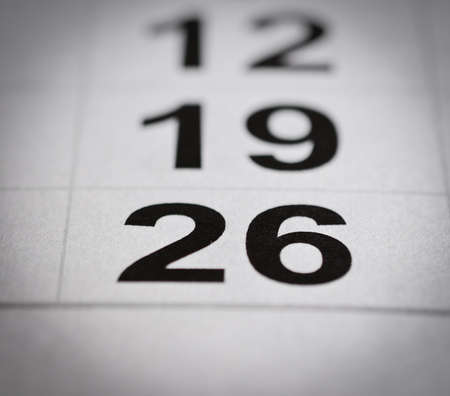 close up black white twenty six calendar number