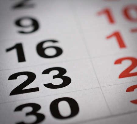 20 23 years: close up black white twenty three calendar number