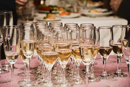 wedding feast: champagne glasses on a banquet