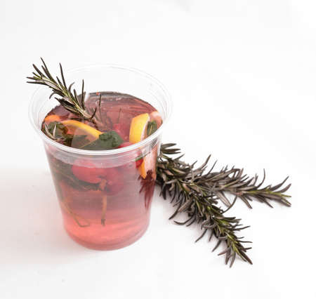 cranberry hot tea with vitamins for warmth in the winter on a