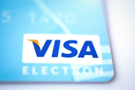MINSK, BELARUS - February 22, 2017. visa card on white. copyspace, financial pay and buy abstract.