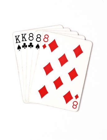 eights: Poker hand rankings symbol set Playing cards in casino: full house on white background, luck abstract, horizontal photo with copyspace closeup Stock Photo