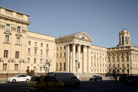 arrests: MINSK, BELARUS - March 23, 2017. Central building kgb in Minsk. Power structure.