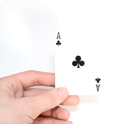 Ace in hand at man isolated on white background