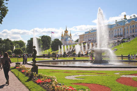 PETERHOF, RUSSIA - May 17: Scenic view of the Grand Cascade, Peterhof Palace, Russia, on May 17, 2017. The Peterhof Palace and Gardens complex is recognized as a UNESCO World Heritage Site Editorial