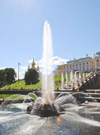 antique vase: PETERHOF, RUSSIA - May 17, 2017. Grand cascade in Pertergof or Peterhof, known as Petrodvorets from 1944 to 1997. The Peterhof Palace included in the UNESCOs World Heritage List.