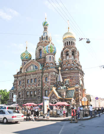 PETERHOF, RUSSIA - May 17: Church of the Savior on the Blood lose up detail. Saint Petersburg, Russia, on May 17, 2017. Editorial