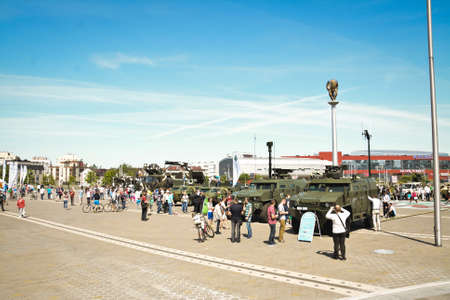Belarus, Minsk, 21 May, 2017. Military exhibition, military armament in Minsk. Technological innovations for warfare. People walk and look at weapons. Editorial