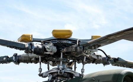 mi: Screw helicopter mi 8 close up on a blue sky