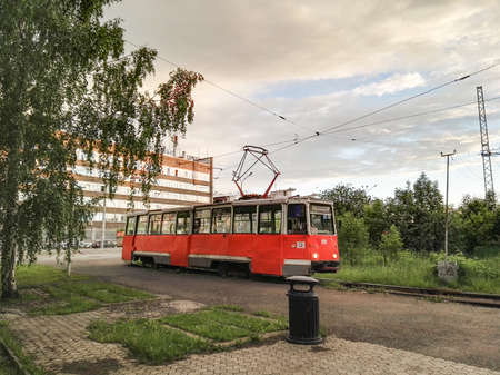 Perm, Russia, June 2017. The project is traveling in Russia. Orange old KTM-5M3 tram. Editorial