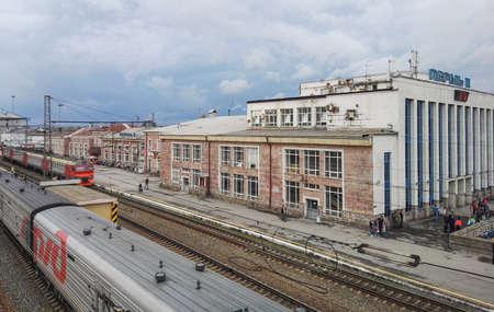 페름, 러시아, 2017 년 6 월.이 프로젝트는 러시아를 여행 중이다. 페름 II 페름 Vtoraya 기차역. 스톡 콘텐츠 - 92003788