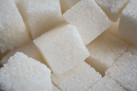 Close up shot of white refinery sugar Imagens