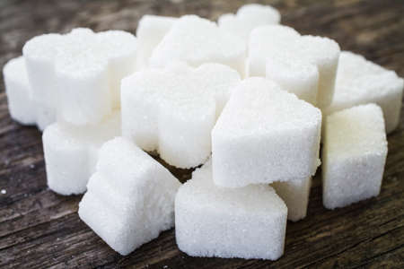 sugar cubes figure on the table close up