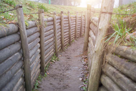 old russian trench for soldiers, second world war memory