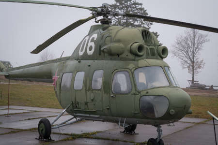 Old Russian military helicopter MI-2, history memory