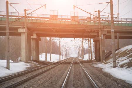 Railroad landscape, car bridge, winter time Industrial concept