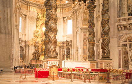 Vatican City, Rome, Italy - February 23, 2019: Altar inside St Peter Basilica in Vatican. Famous landmark Editorial