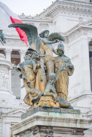 Rome, Italy - February 23, 2019: Part of popular landmark od Rome Altare del Patria, history building Editorial