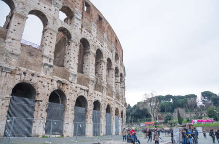 Rome, Italy - February 23, 2019: The eternal city of Rome, Roman streets and buildings, modern and ancient architecture of Rome. Famous turists landmarks.