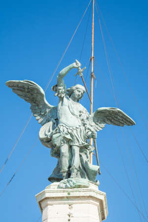 Rome angel statue over blue sky, italian landmarks, Archangel Michael a top of Castle of the Holy Angel