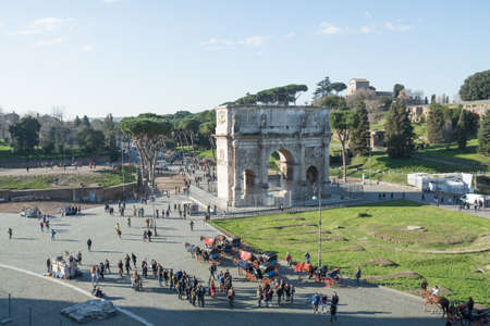 Rome, Italy - February 23, 2019: Aerial view Arch of Constantine in Rome. Italia