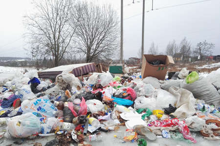 Minsk, Belarus - March 6, 2019: Garbage dump near the forest spring or winter time 報道画像
