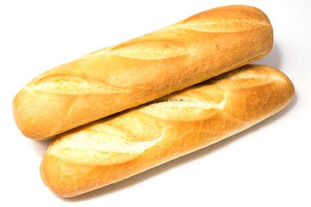 Mini baguettes on isolated white background studio photo