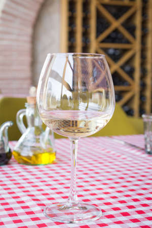 White wine glasses on the table
