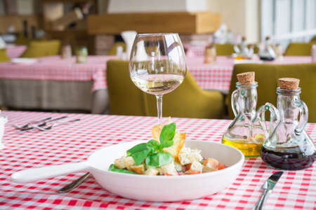 Italian cuisine, delicious vegetarian salad with croutons