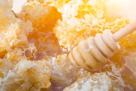 Fresh Yellow Honeycomb slice, close up photo 版權商用圖片