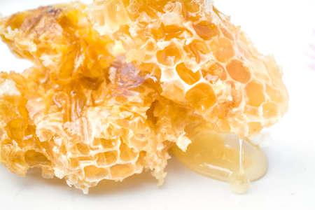 Honey comb over white isolated background, studio shot