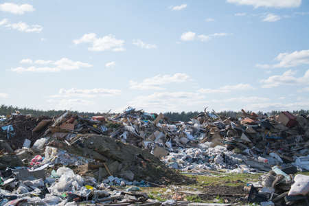City garbage dump with domestic, ecologic pollution concept Stockfoto