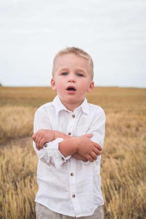 little five year old boy in a wheat field
